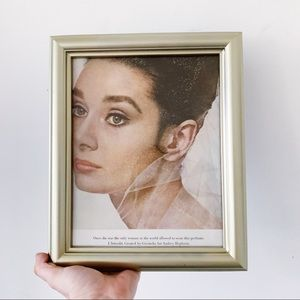 Vtg 60s Givenchy Audrey Hepburn Ad Framed Decor